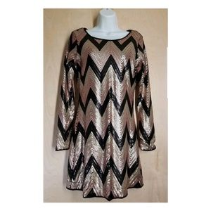 GB, GIANNI BINI, full sequined, long sleeve dress